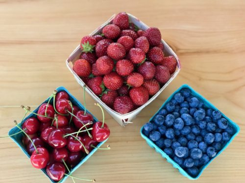 Strawberries, Blueberries and Cherries from Parlee Farms